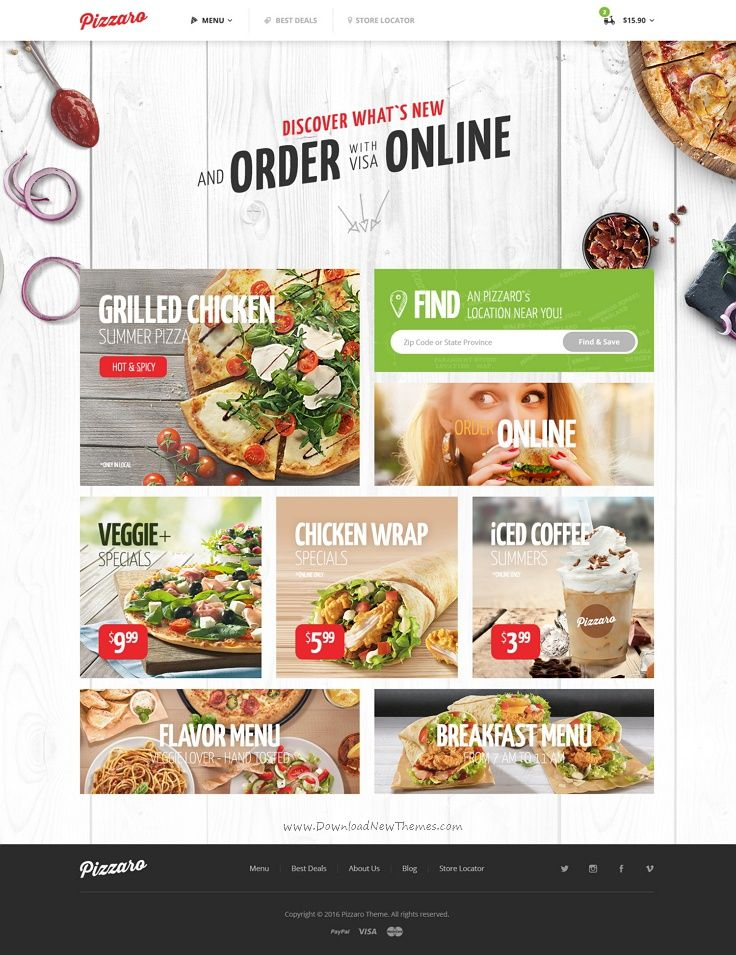 Pizzaro is a beautiful #PSD template for fast #food, #sushi and pizza delivering…