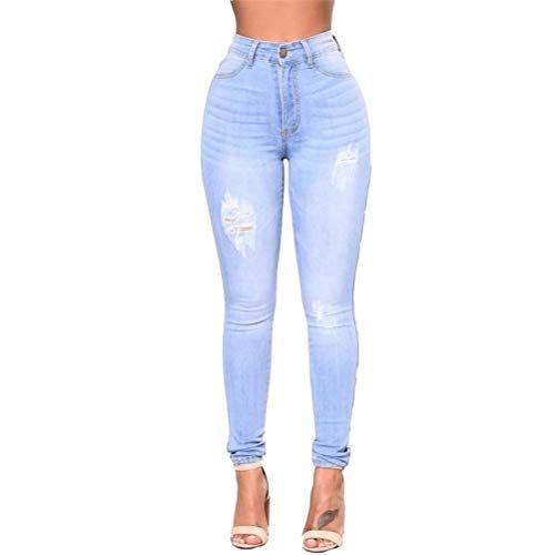 Pantalones Vaqueros Pitillo para Mujer Agujeros Pantalones Lápiz De De  Fashion Élastique Corte Ajustado De Cintura 1ade7634510