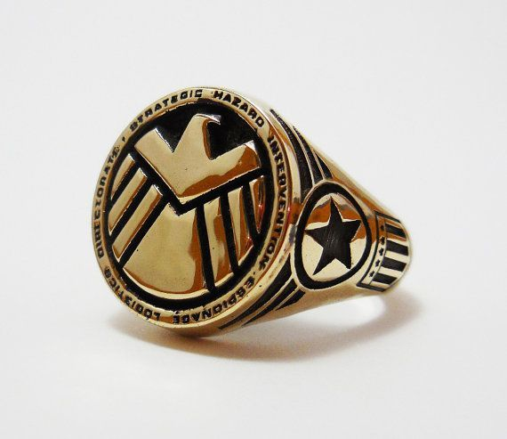 Brass Agents of Shield ring captain america ring /Iron Man ring Style Heavy Biker Harley Rocker Men's Jewelry (BR-027)