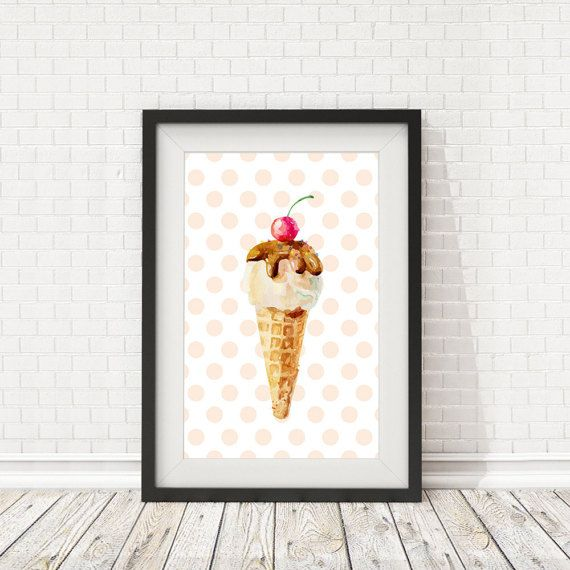 Ice cream poster Kitchen art Icecream Print by BatLabPrintables