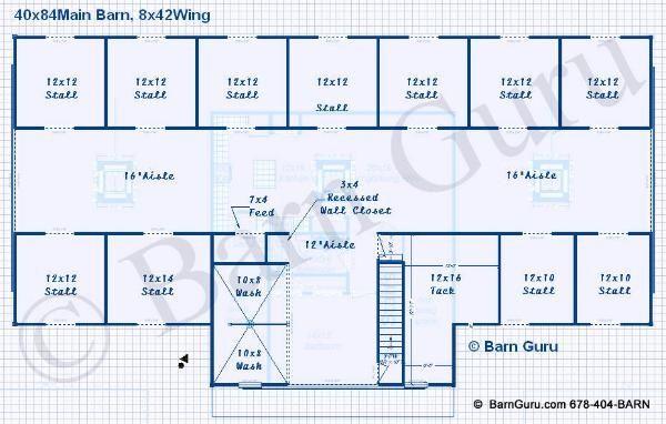 16 stall horse barn plans 11 stall horse barn floor plan for Horse barn with living quarters plans