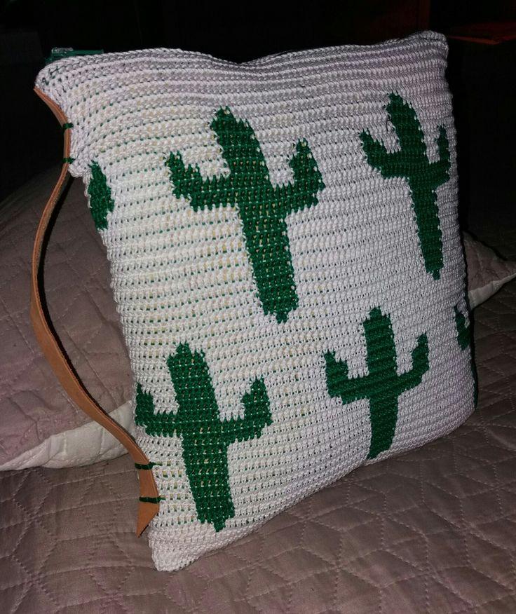 Travel size chrochet cactus pillow