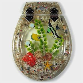 Tropical Fish Clear 3pce - All Seats - Animals - Marine - Loo with a View Hand Made Poly Resin Toilet Seats & Accessories