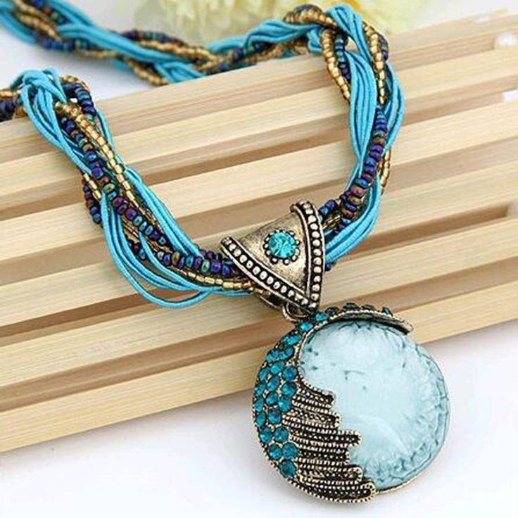 Women Jewelry Gem Crystal Multilayer Beads Chain Handmade Bohemia Style Retro Necklace
