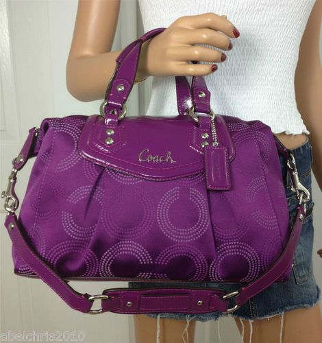 COACH ASHLEY PURPLE CONVERTIBLE SATCHEL SHOULDER BAG PURSE