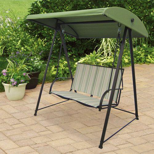Mainstays Stripe Sling Outdoor Swing Green Seats 2