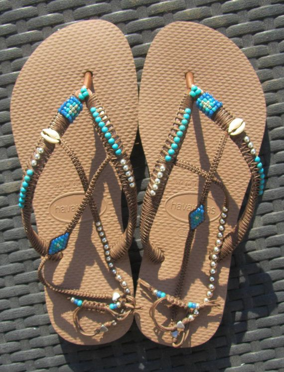 Turquoise Decorated Beaded Bohemian Flip Flop door TribesBySaraK