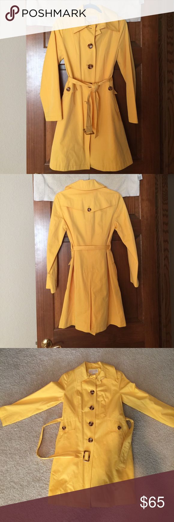 Michael Kors Trench coat This Michael Kors summery yellow trench coat is the perfect coat! It is in excellent shape and is a size small. The tag in the inside says S/P. It has four buttons on the front of the coat as well as two pockets on the front with buttons. There is a small mark on one of the pockets which I have noted in the pictures. This also has a cute belt that ties at the waist. Michael Kors Jackets & Coats Trench Coats