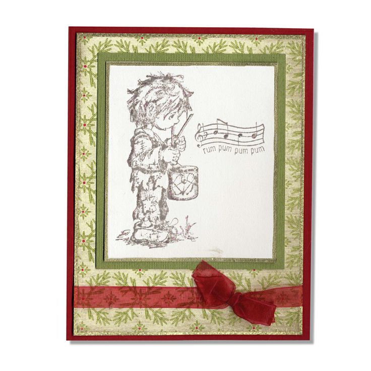 Little drummer boy stamped christmas card create it in for Elegant christmas card ideas