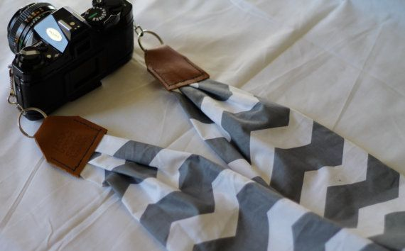 Gray & White Chevron Scarf Camera Strap by maddiemichael on Etsy, $25.00 Hot in the summer??