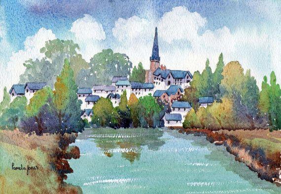 Watercolour Print.Ross On Wye by Pamelajonesartstudio on Etsy, £5.00