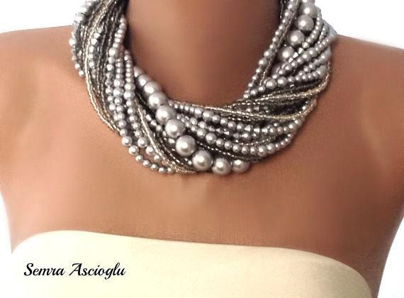 Chunky Bold Bridal Silver Necklace Bride by HMbySemraAscioglu