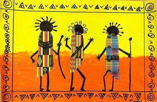 we heart art: African Dancers. Lots of pretty cool art projects for kindergarten - adapt to Preschool!