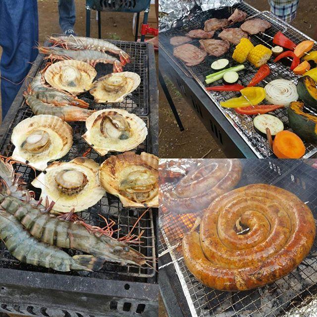 今年初BBQ!! #bbq #バーベキュー #肉 #魚介 #夢の島公園