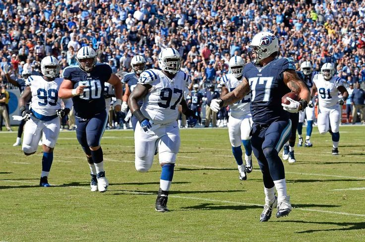 Colts vs. Titans  -  26-34, Colts:  October 23, 2016  -       Tennessee Titans tackle Taylor Lewan (77) beats Indianapolis Colts defensive tackle Arthur Jones (97) to the end zone as Lewan scores a touchdown on a 10-yard pass play in the first half of an NFL football game Sunday, Oct. 23, 2016, in Nashville, Tenn.