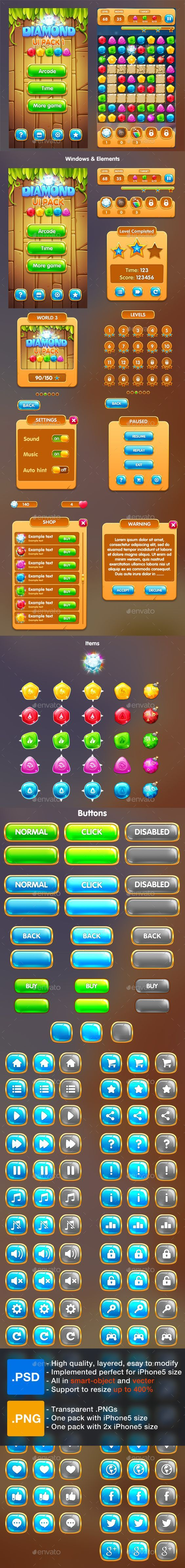 Cartoon Game UI Pack 1 #cartoon #button • Download ➝ https://graphicriver.net/item/cartoon-game-ui-pack-1/17753069?ref=pxcr:
