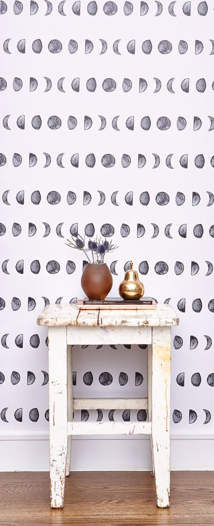 Phases of the moon wallpaper, indigo, print, diy