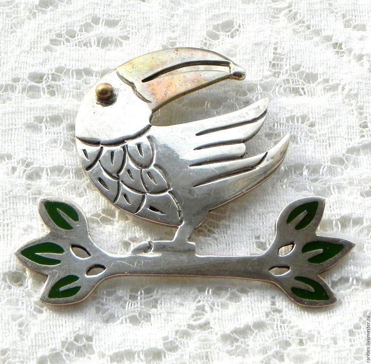Купить Брошь Мудрый ворон,Мексика,стерлинговое серебро,позолота,птица,ворона - серебряные украшения