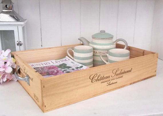 Wooden wine box tray Chateau Sudairaut by BaxterandSnowwinebox