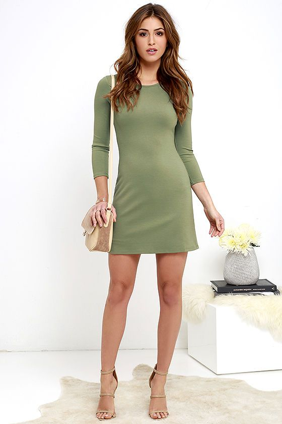 The best dress in your closet this season will definitely be the Perfectly Posh Olive Green Long Sleeve Dress! This sleek, medium-weight knit dress will pair with all of your favorite shoes and accessories, with its classic rounded neckline and long, fitted sleeves. Darting adds shape to the bodice atop a darling A-line silhouette. Hidden back zipper.
