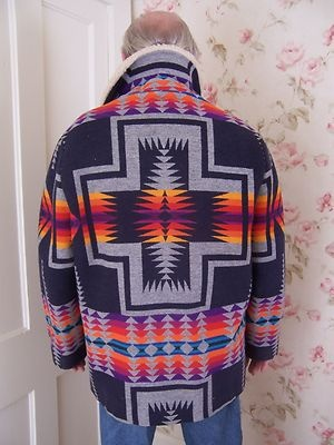 Vintage Pendleton Wool Indian Blanket Sherpa Jacket Beaver