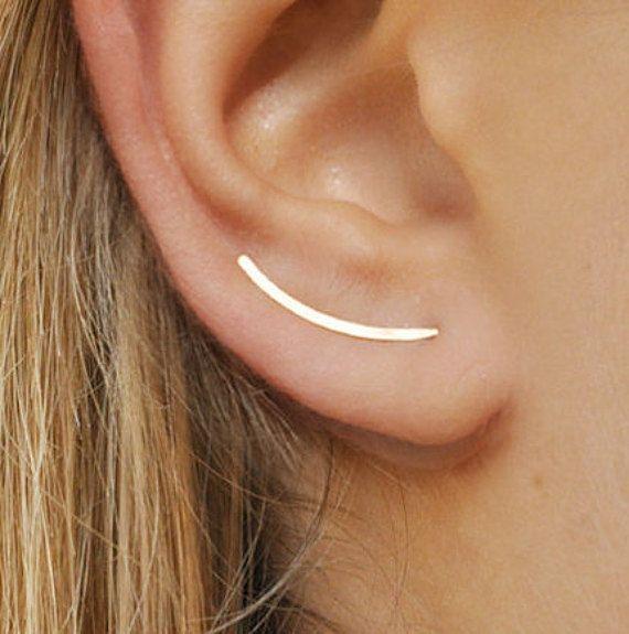 L'oreille grimpeurs 20mm - oreille élégant Pins, or 14k Gold Filled, balayage lisse, insolites, des boucles d'oreilles, boucles d'oreilles modernes minimalistes, boucles d'oreilles