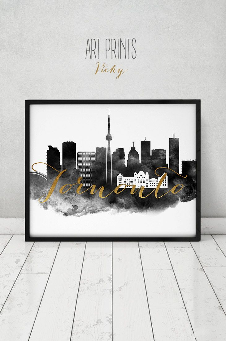 Toronto print, watercolor poster, black & white Wall art, Canada, skyline, faux gold text, travel poster, Home decor, Gift, ArtPrintsVicky by ArtPrintsVicky on Etsy