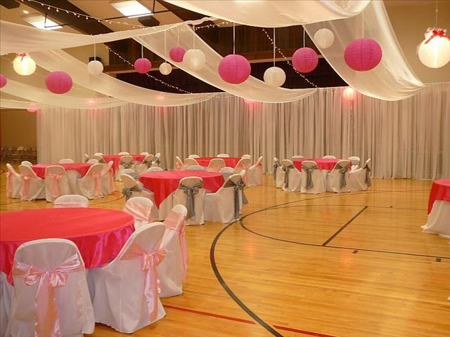 Cultural hall wedding reception wedding decor church for Hall decoration images