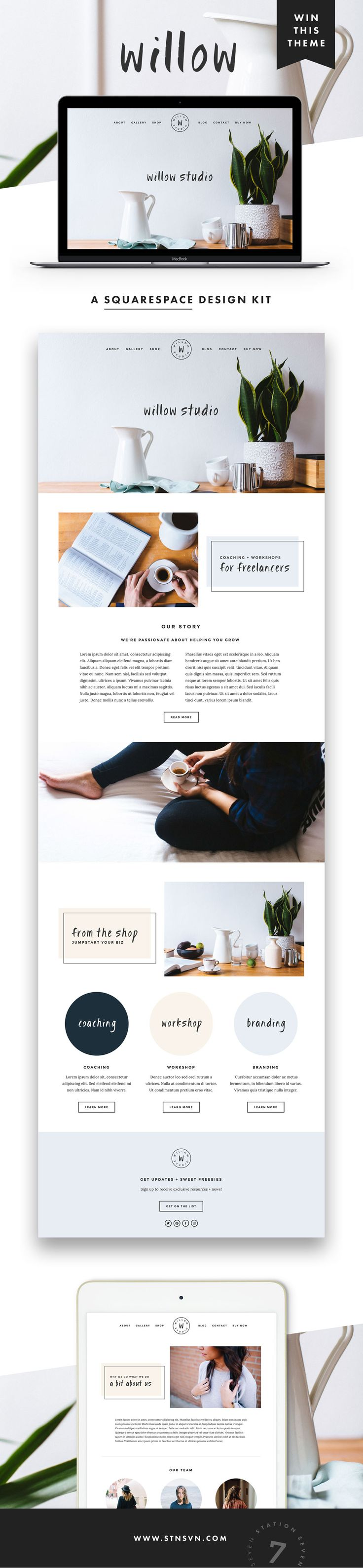 GIVEAWAY! Introducing our latest web design for Squarespace, Willow! If you've been thinking about sprucing up your blog or web design, there's no time like the present. Simply follow us @Station Seven | Blogging, Web Design, + Entrepreneur Tips and repin