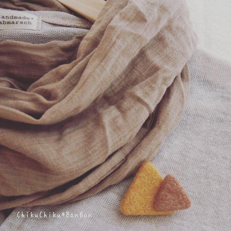 マルとシカクとサンカクと。 #サンカク #キイロ #brooch #ブローチ #羊毛  #chikuchikubanban