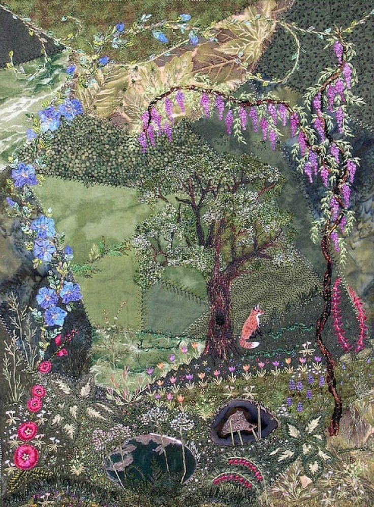 "I ❤ crazy quilting & ribbon embroidery . . . Stunning, ""Rivendell; Fox and Oak,"" an embroidered crazy quilt. Ribbon & silk embroidery complemented with beads & sequins. ~By Caroll Lenthall."