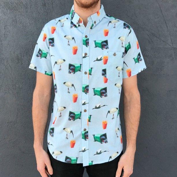 bin chicken button up party shirt