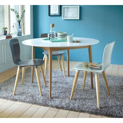 Table ronde eden 4 couverts blanc bois vue 1 home for Table ronde 4 chaises