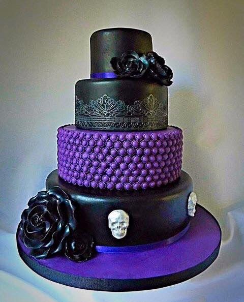 Black and purple skull cake