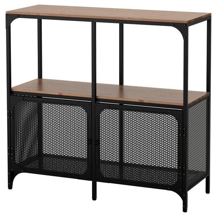 IKEA - FJÄLLBO, Shelf unit, , This rustic metal and solid wood shelf has an open back, so it's easy to arrange cords and access power outlets.A simple unit can be enough storage for a limited space or the foundation for a larger storage solution if your needs change.The storage unit stands steady on uneven floors since it has adjustable feet.