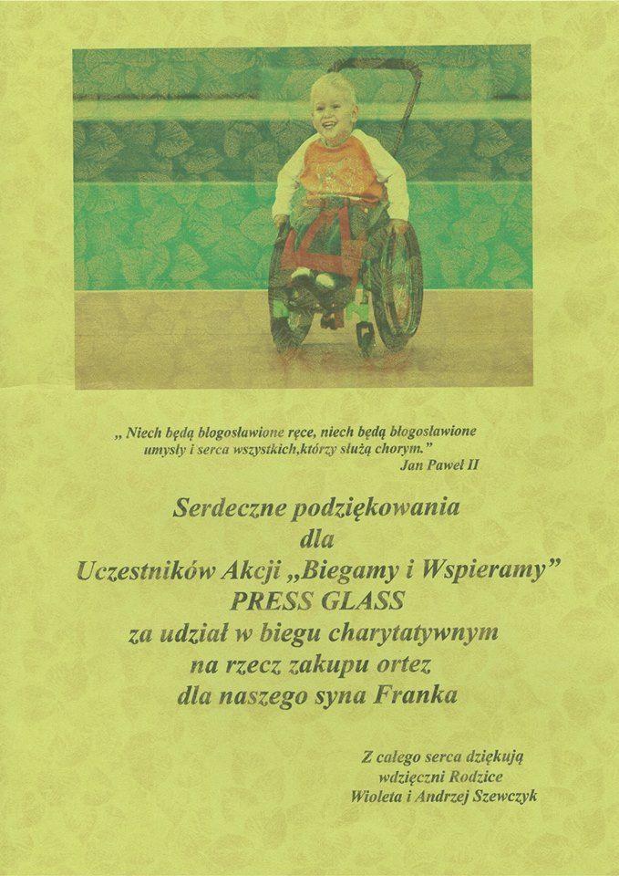 Podziękowanie dla pracowników PRESS GLASS, którzy wzięli udział w biegu charytatywnym dla Franka / Commemorative diploma for PRESS GLASS employees - participants of special charity running for Franek