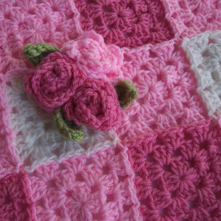 Pink Baby Blanket- Crochet Granny Square Baby Blanket ...