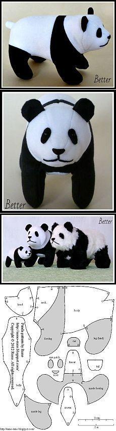 Панда - выкройка.