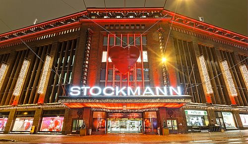 Main entrance at Stockmann, Christmas style. The sidewalk has heating so there is no snow on it.  FULL SCREEN