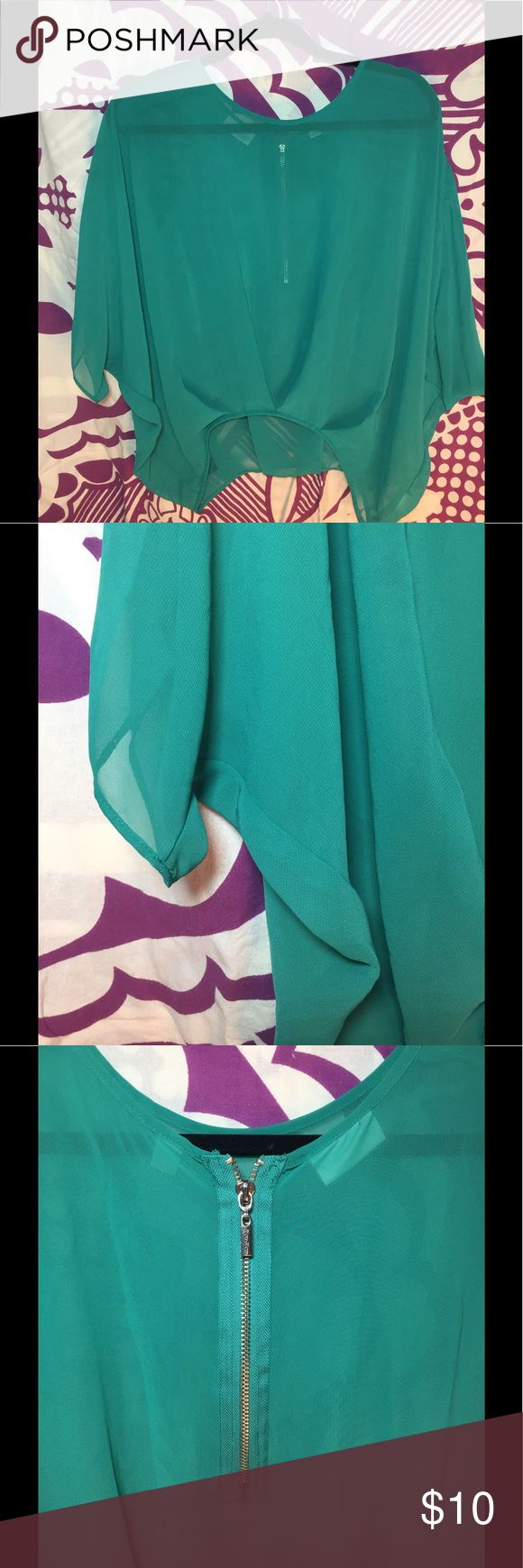 Sheer teal blouse! Sheer teal blouse, with an exposed zipper in the back that adds interest. The size says xs but could also fit a small. Tops Blouses