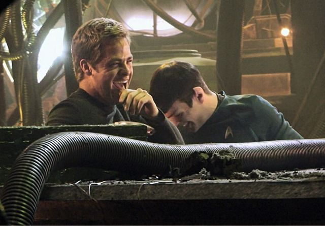 Star Trek 2009 - Chris Pine & Zachary Quinto cracking up during a shoot.