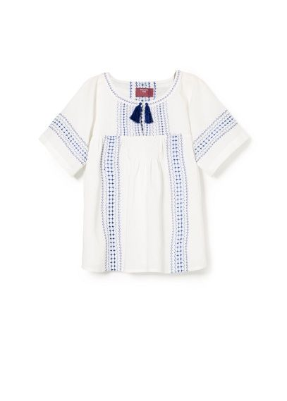 Embroidered tassel blouse Blue & White - Mango Kids £19.99