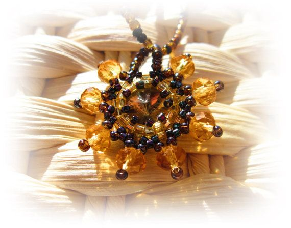 HANDMADE Golden Sun pendant necklacewith rivoli crystal by ImolArt