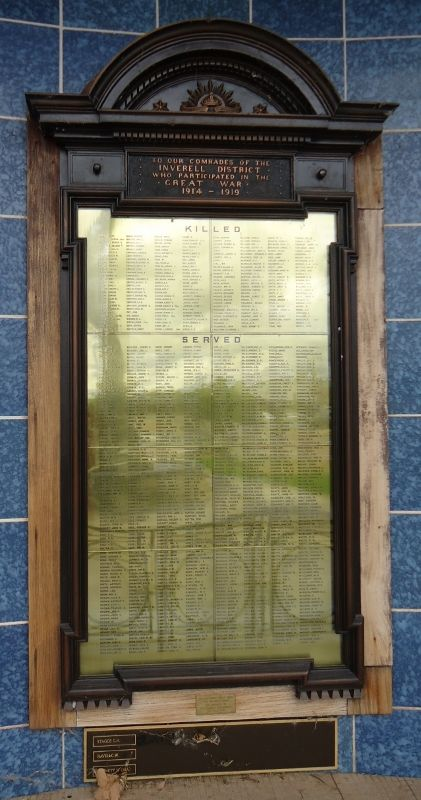 Inverell Honor Roll Inverell was the first town in NSW to begin an Honor Roll for those who enlisted during WWI. It was designed by architect Herbert Ross. The names of the Kurrajong men are included on this board. Note: Honor is as spelt at the time of WW1