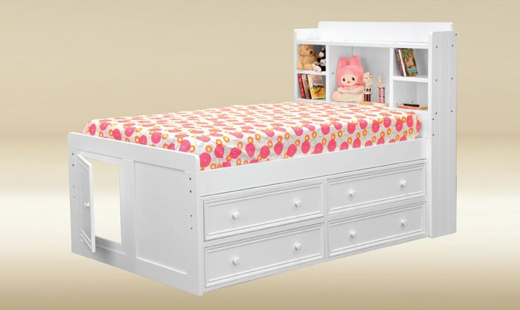 Jackson White Twin Size Captains Bed, Captains Beds with Storage