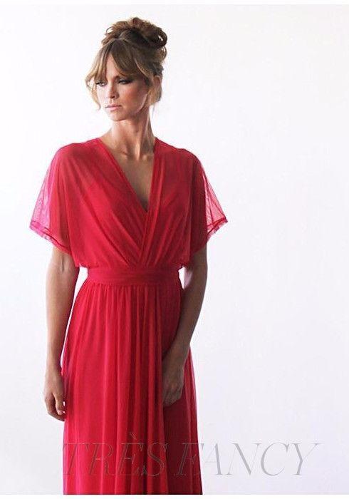 Coral maxi dress, Chiffon dress, Bridesmaids maxi dress, Bat sleeves dress, Batwing dress