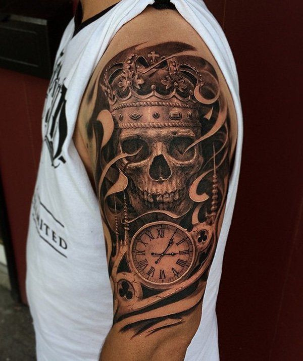15-tatuagem-caveira-tempo-realista-blackwork-braco