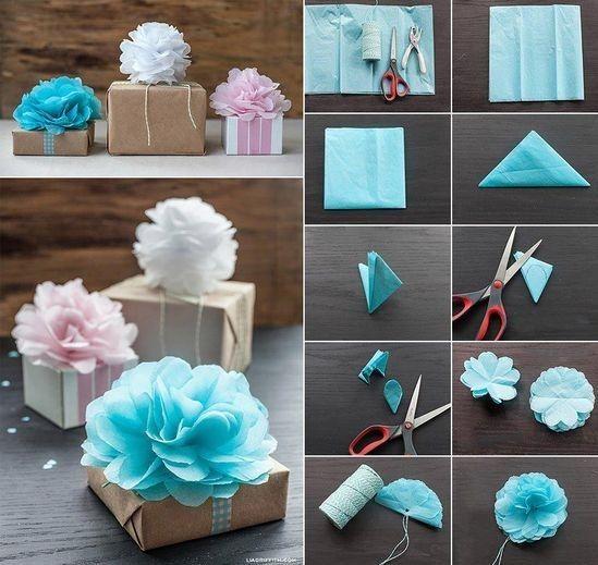 Süße Blumen aus Servietten! Als kleines Deko-Element auf Geschenken oder auch…