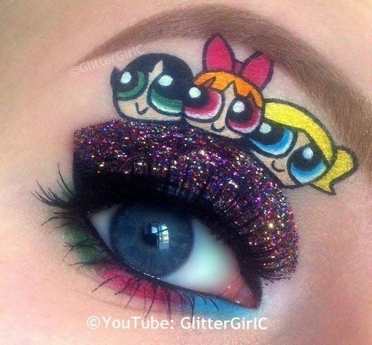 Powerpuff Girls Makeup  •  Free tutorial with pictures on how to create a glitter eye in 1 step