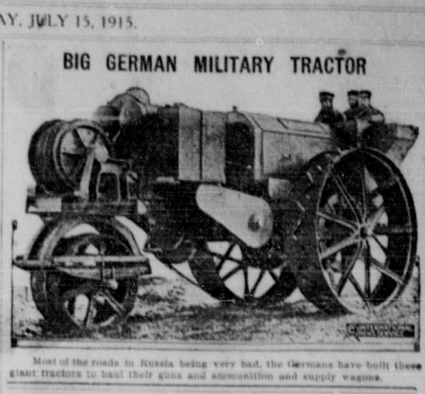 """WWI covered live on Twitter: """"July 15 1915 Giant German military tractor is the only thing that can navigate Russian roads http://t.co/7G5hd1MEg2 http://t.co/uXTlMRhRvr"""""""